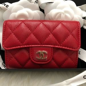Chanel 19b caviar flap card holder wallet 19b New